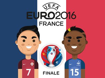 Em Finale 2016 paul pogba christiano ronaldo em 2016 illustration nike football france portugal