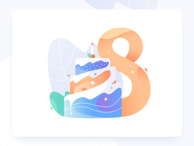 Stovkomat illustration 8 celebration solid gradient cake illustration
