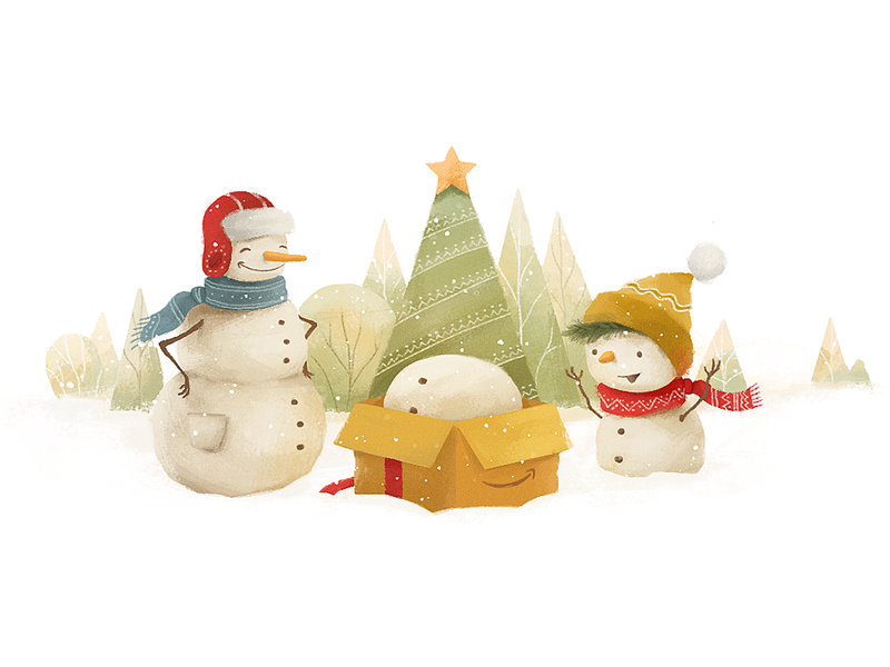Avast Secure Browser - Amazon Christmas Doodle amazon doodle snowman winter christmas illustration