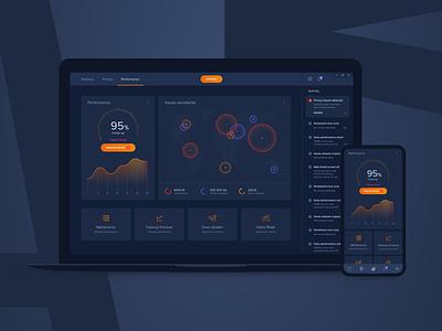 Performance Dashboard - Concept 1 map graph performance ui dark dashboard