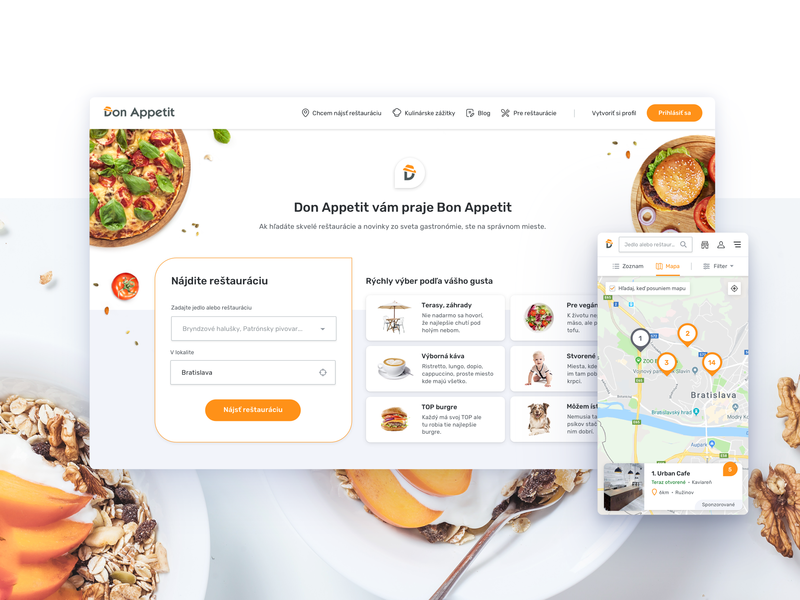 Don Appetit - Website Redesign 1 map gastronomy food responsive redesign website