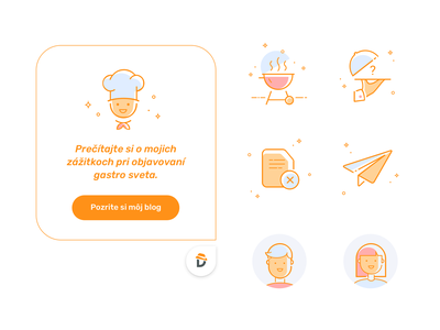 Don Appetit - Website Redesign 5 food profile cook icons icons set outline