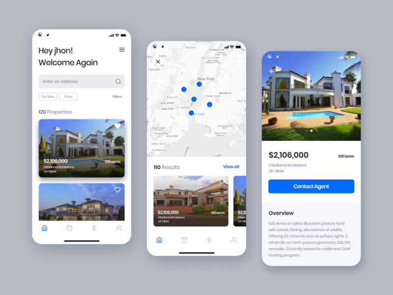 Real estate App property real estate flat free blue awesome clean apps design minimal dashboard apps ui ux