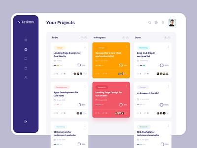 Project Management Web App clean blue black apps design awesome design minimal dashboard apps ui ux