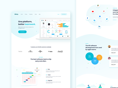 Saas Landing Page project management saas landing page saas lading saas blue awesome design clean apps design minimal dashboard apps ui ux