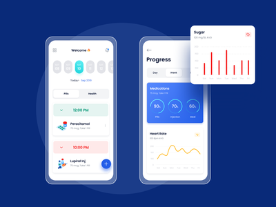 Health Reminder App medical app reminder pill health clean apps design minimal dashboard apps ui ux