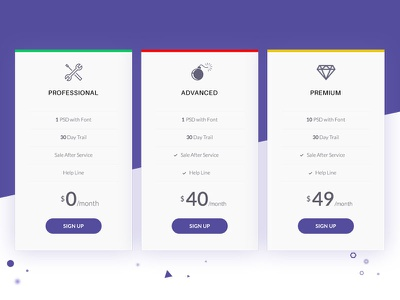 Pricing Table Design pink blue ux ui price chart pricing table pricing ui pricing