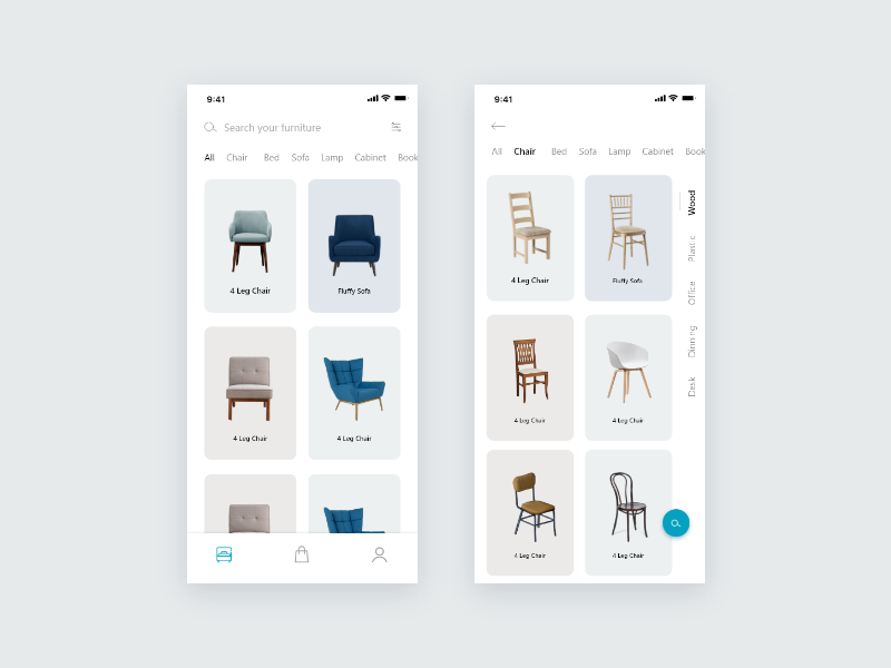 Furniture app furniture store furniture app dashboard illustration free blue awesome apps design clean apps minimal ui ux