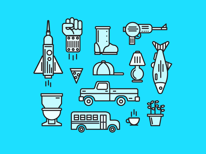 Favorite Objects Icons raygun tea pizza bus toilet truck spaceship free icon set iconography