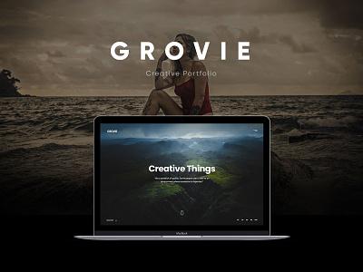 Grovie website dark clean corporate vcard personal agency creative ux ui web themeforest portfolio