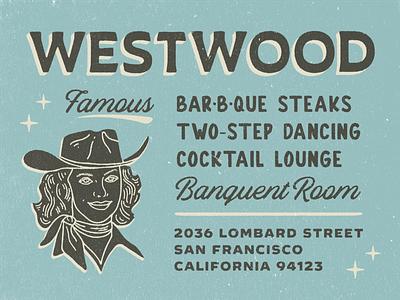 Westwood cowgirl nicola broderick logo beer cocktails branding illustration desert san francisco california retro