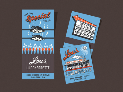 Lou's Luncheonette - Matchbooks nicola broderick chicken fire signage diner matchbook matches design illustration california