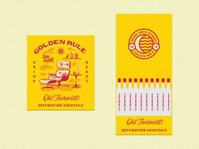 Golden Rule - Old Fashioned Matchbooks moon old fashioned furniture eames golden rule spirits nicola broderick business cards promo cocktails spirts matches mid century retro matchbooks