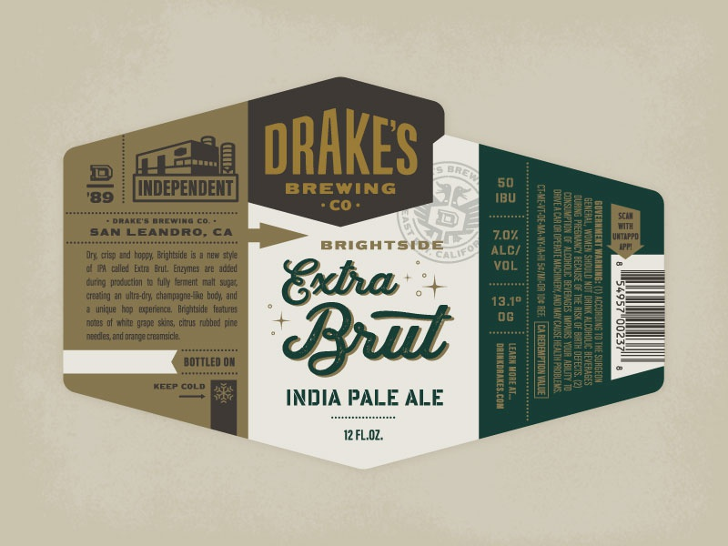 Drake's - Extra Brut beer labels brewery sparkle champagne ipa beer drakes brewing drakes