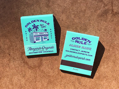 Golden Rule - Margarita Matchbooks mexican mexican restaurant palm trees architectural business cards promo illustration cocktails retro matches matchbooks cantina margarita golden rule