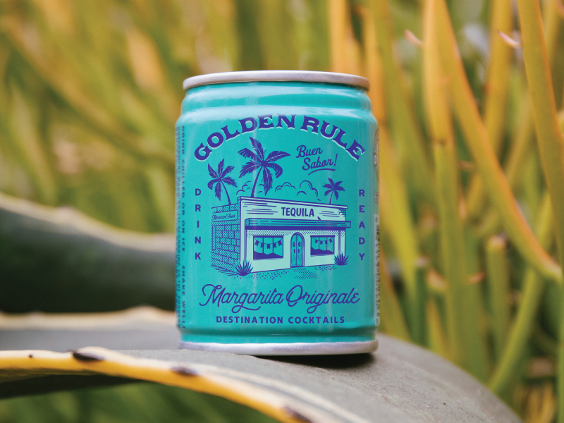Golden Rule - Packaging retro spirits packaging drink 100ml cocktails palm tree tiny can cantina margarita tequila matchbook golden rule