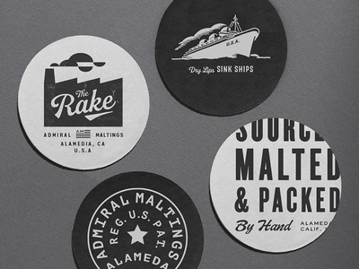 The Rake - Coasters san francisco california usa ship stamp craft beer beer malt factory navy admiral maltings the rake