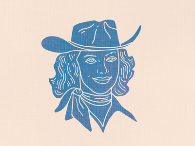Cowgirl Illustration camino texas california desert western country stamp indigo vintage illustration cowgirl