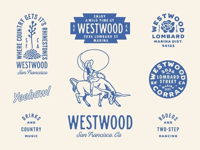Westwood - Brand Identity western brewery bar sf disco glam country rodeo succulent bull westwood marina san francisco california branding desert cowgirl