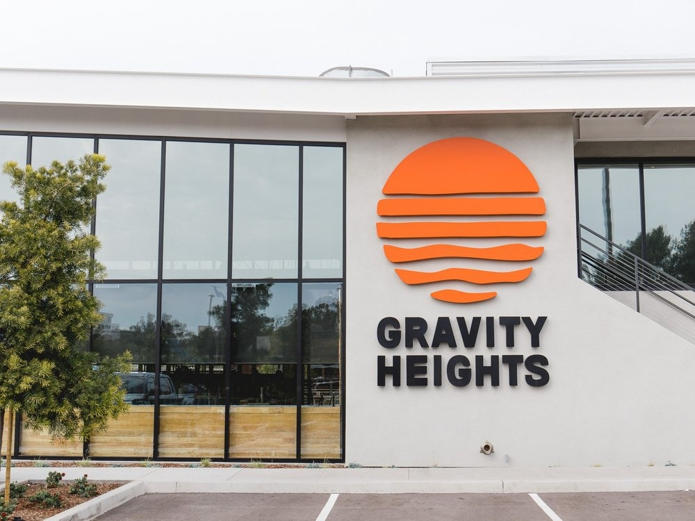 Gravity Heights - Logo Signage camino studio gravity heights surf california waves sun branding signage outdoor logo beer garden beer brewery san diego