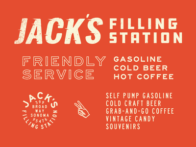 Jack's Filling Station - Branding coffee gas jacks typography branding logo design san francisco california retro beer