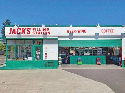 Jack's Filling Station - Signage jacks gas exterior handlettering handpainted signage logo design california retro beer