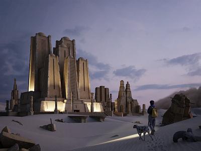 Discovery illustration fiction 3d illustrator 3dsmax desert render scifi