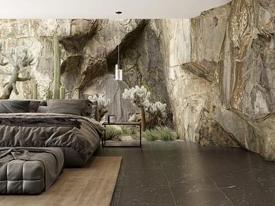 Rocky Mountains scene bedroom bed design illustration archviz architecture 3d render 3dsmax