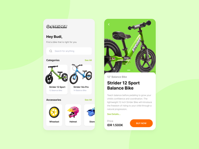 Strider 12 Sport Balance Bike bicycle app bicycle app design ui product page balance bike strider bike