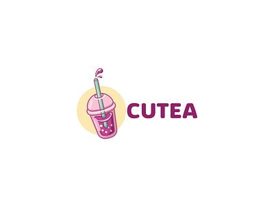 Logo for boba/bubble tea shop logo illustration design bubble tea
