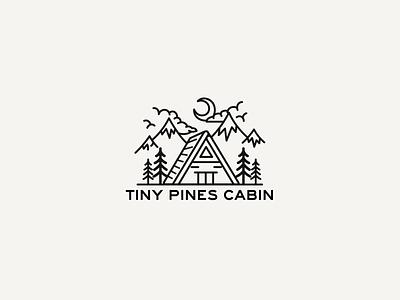 Logo for Tiny Pines Cabin cabin vector logo illustration design