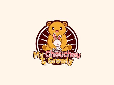 Logo Design for My Chouchou and Growly vector illustration design toy fun logo bunny logo bunny rabbit logo rabbit teddybear teddy logo teddy bear bear logo