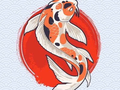 Koi Fish Sample emblem art print grunge illustration vecster vector illustration oriental vector koi fish