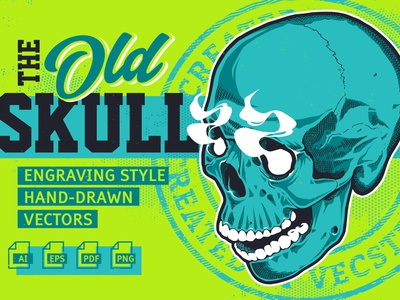 OLD SKULL - Engraving Style Vectors Sample vintage tattoo collection stock for sale grunge engraving vector skull