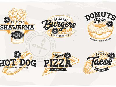 Street Food Retro Emblems art vector vecster illustration design emblem street food food graphic design branding logo