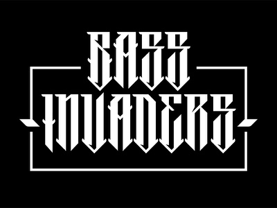 Bass Invaders Logo vector podcast radio show drum  bass bass typography logo