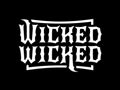 Wicked Logo lettering typography evil white black radio wicked show podcast brand logo vector