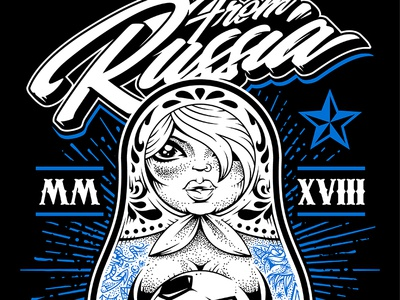 From Russia With Love doll dot work matryoshka sexy tattoo world cup 2018 football fifa russia vecster vector