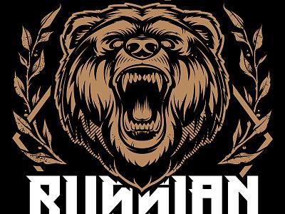 Russian Bear emblem coat of arms mascot head rough grunge animal beast bear russia vecster vector art