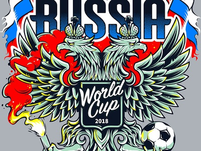 Welcom To Russia world cup 2018 fifa football eagle emblem coat of arms mascot russia vecster vector art