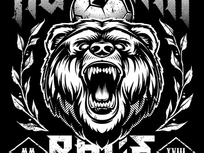 Russian Rage emblem coat of arms mascot head rough grunge animal beast bear russia vecster vector art