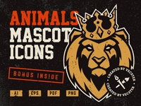 Animals Mascot Icons Vector Set Cover