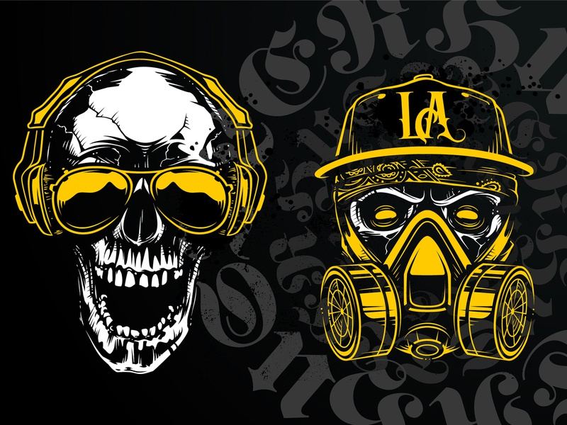 Hustler Skull Vector Art Sample 2 print tattoo street art vecster hustler skull art vector art