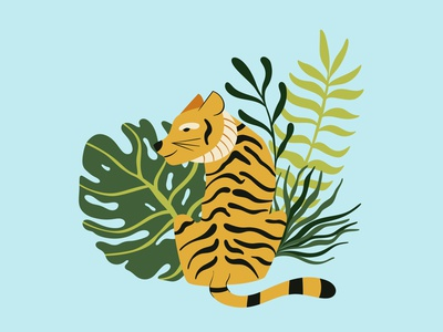 Vector cute tiger with tropical leaves vector animal jungle tropical leaves cute tiger illustration