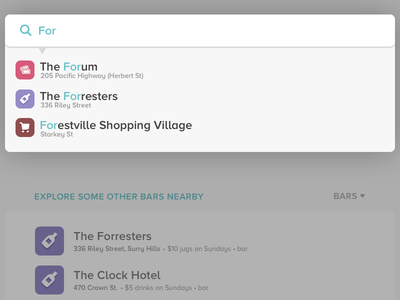 Places: search/explore autocomplete foursquare places search modal