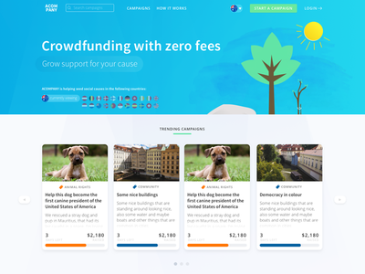 Acompany splash page crowdfunding illustration homepage splash