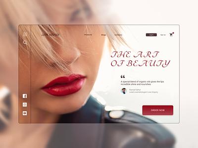 Love Inspiry - Landing page lipstick cosmetics ui minimal branding web design