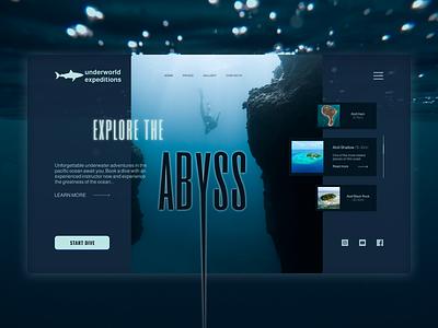 Underworld expeditions - Landing page uiux water underwater diving logo travel branding web design
