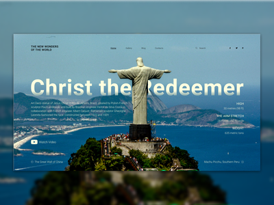 Christ the redemeer typography vector travel ux ui uiux homepage design wonder of the world wonder architecture web design