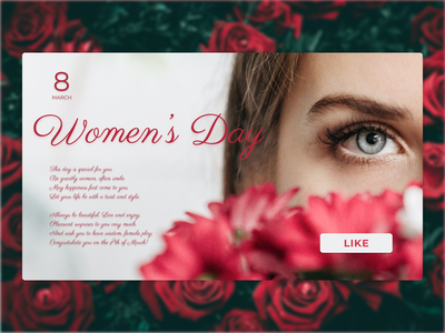 Happy Women's Day tenderness flowers 8 march like button card design card ui web design